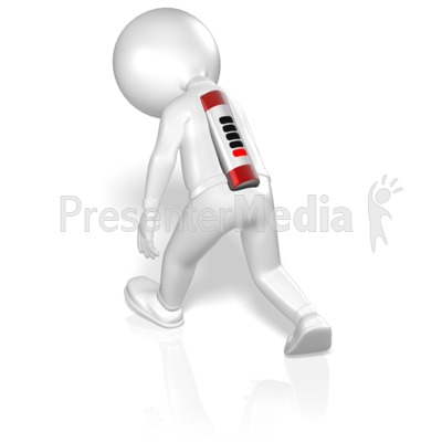 Stick Figure Walking With Low Battery Presentation clipart