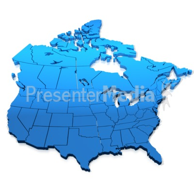 North America Blue Map Presentation clipart