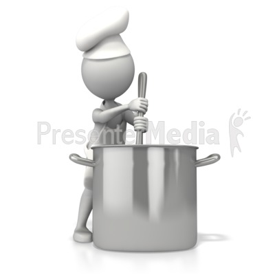 Chef Stirring Pot Presentation clipart