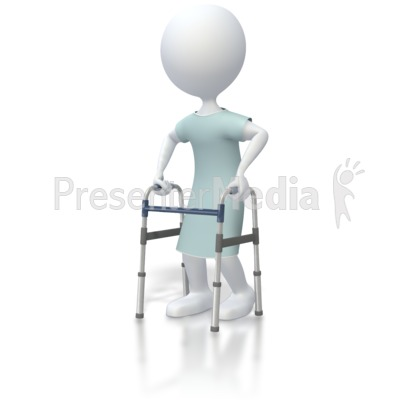 Stick Figure Patient With Walker  Presentation clipart