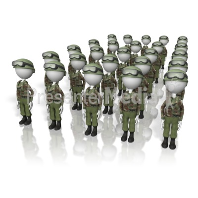 Stick Figure Army  Presentation clipart