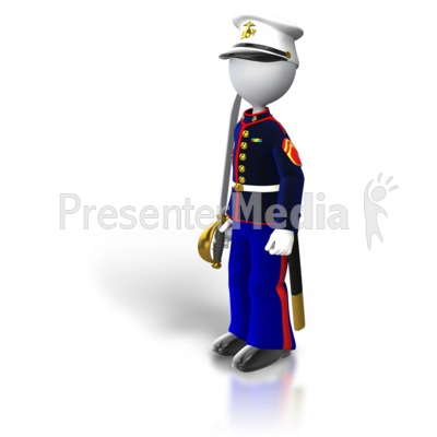 Marine Standing Holding Sword Presentation clipart