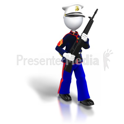 Marine Walking Carrying Gun Presentation clipart