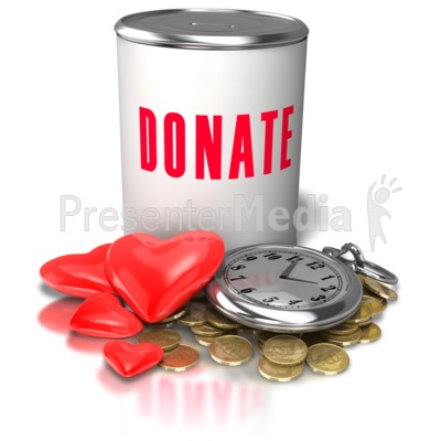 Donation Time Money Heart Presentation clipart