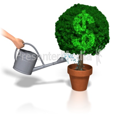 Watering Dollar Plant Presentation clipart