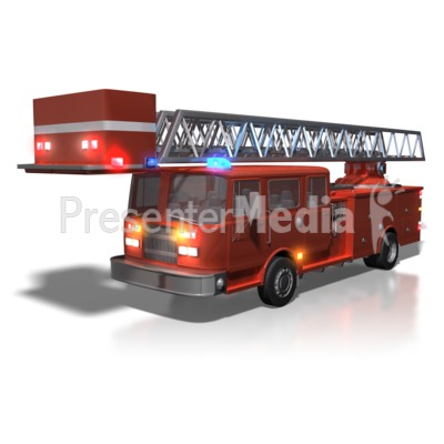 Firetruck With Lights On Presentation clipart