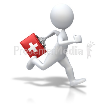 Stick Figure Running First Aid Presentation clipart