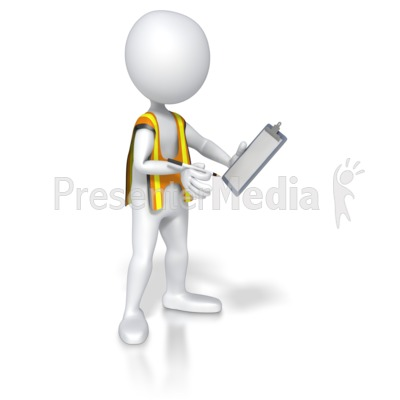 Construction Worker Taking Notes Presentation clipart