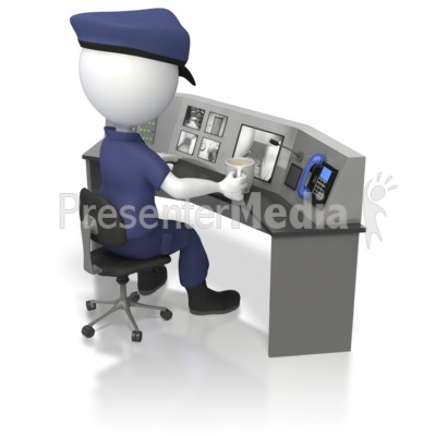 Officer At Security Surveillance Desk  Presentation clipart
