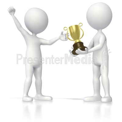 Stick Figure Receiving Trophy Presentation clipart