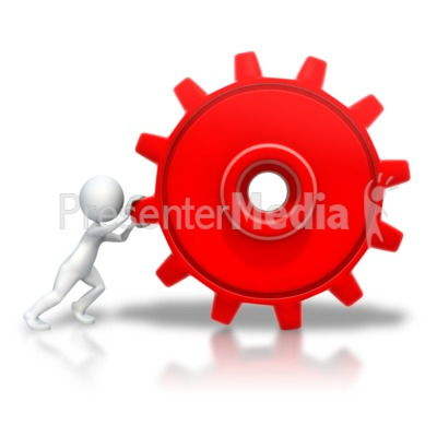 Stick Figure Pushing Gear Presentation clipart
