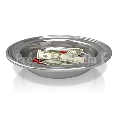 Collection Plate with Money Presentation clipart
