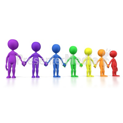 Holding Hands Group Spectrum Line Presentation clipart