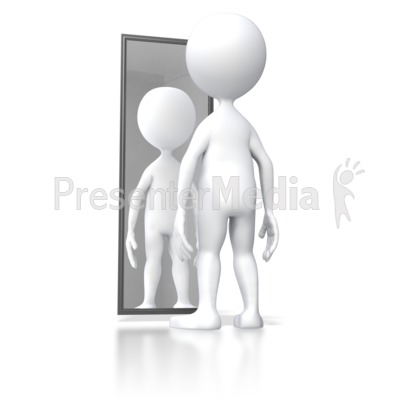 Stick Figure Looking In Mirror Presentation clipart