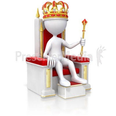 Stick Figure King On Throne Presentation clipart