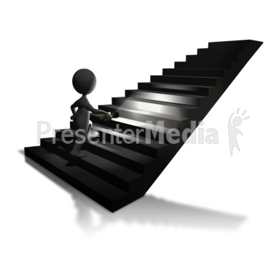 Walking Up Stairs Flashlight Presentation clipart