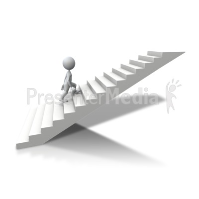 Stick Figure Climbing Up Stairs Presentation clipart