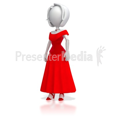 Stick Figure in Elegant Dress Presentation clipart