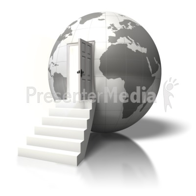 Globe Open Door Enter Presentation clipart