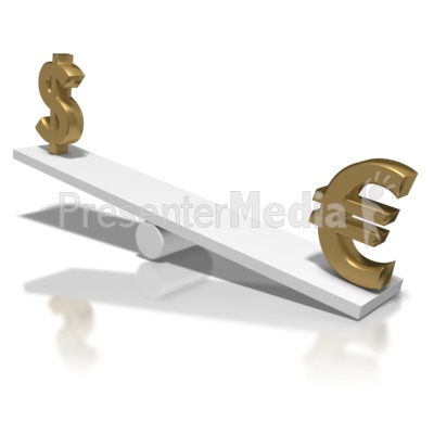 Dollar Up Euro Down Teeter Totter Presentation clipart