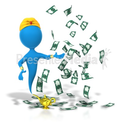 Genie Money Wish Granted Presentation clipart