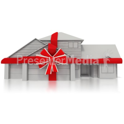 Residential Home with a Bow Around It Presentation clipart