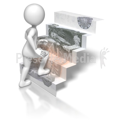 Stick Figure Climbing British Money Stai Presentation clipart