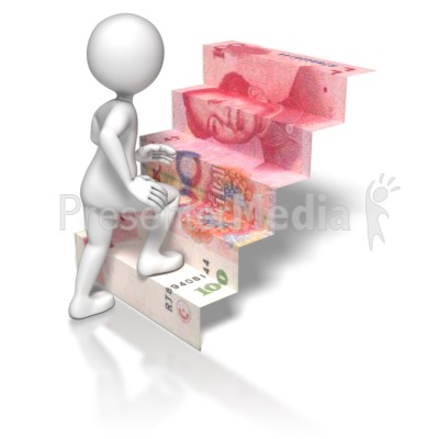 Stick Figure Climbing Chinese Money Stai Presentation clipart