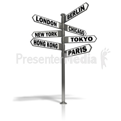 Street Sign World Cities Presentation clipart
