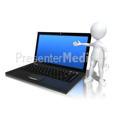 Stick Figure Standing By Laptop Presentation clipart