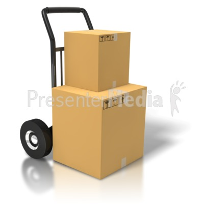 Boxes On A Dolly Presentation clipart