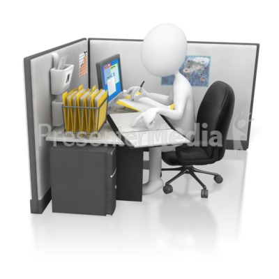 Stick Figure Office Worker Hard At Work Presentation clipart