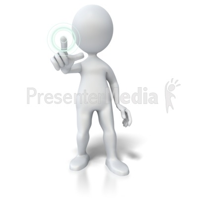 Pushing Hologram Button Presentation clipart