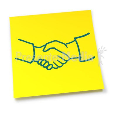 Yellow Sticky Note Handshake Presentation clipart