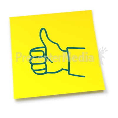 Yellow Sticky Note Thumbs Up Presentation clipart