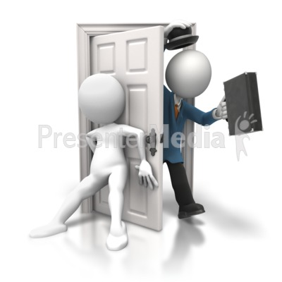 Shutting Door on Salesman Presentation clipart