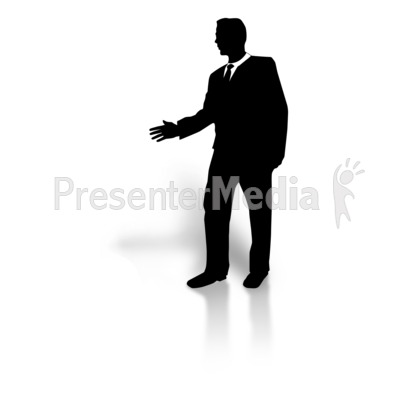 Businessman Silhouette Greeting Presentation clipart