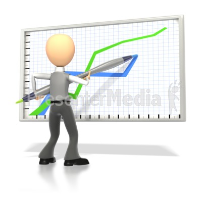 Business Stick Figure Drawing Graph Presentation clipart