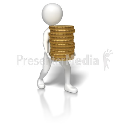 Stick Figure Carrying Gold Coins Presentation clipart