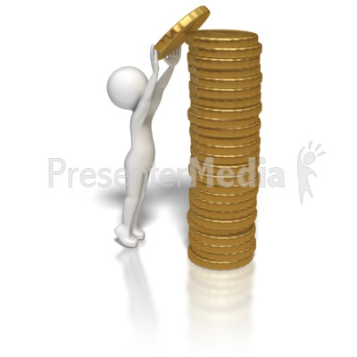 Stick Figure Stacking Gold Coins Presentation clipart