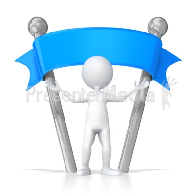 Stick Figure Standing Under Blank Sign Presentation clipart