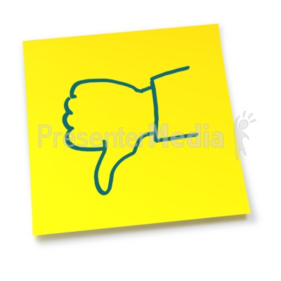 Yellow Sticky Note Thumbs Down Presentation clipart