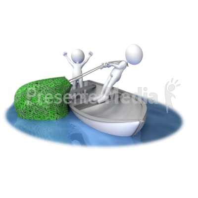 Stick Figures Pull In Net Full of Dollar Presentation clipart