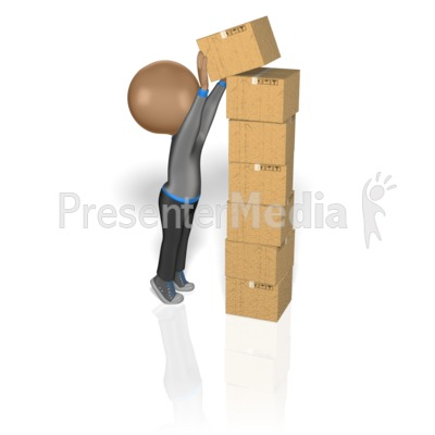 Stick Figure Stacking Boxes Presentation clipart