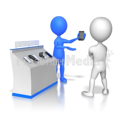 Stick Figure Selling Phones Presentation clipart