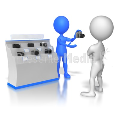 Stick Figure Selling Cameras Presentation clipart