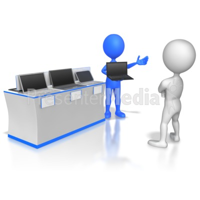 Slaes Stick Figure Selling Computers Presentation clipart