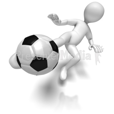 Stick Figure Kicking Soccer Ball Presentation clipart