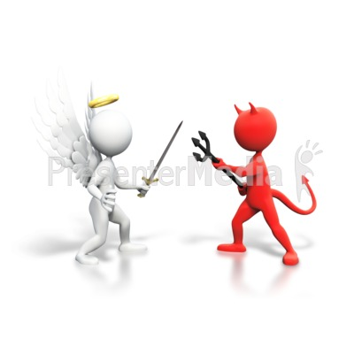 Good Vs Evil Fight Presentation clipart