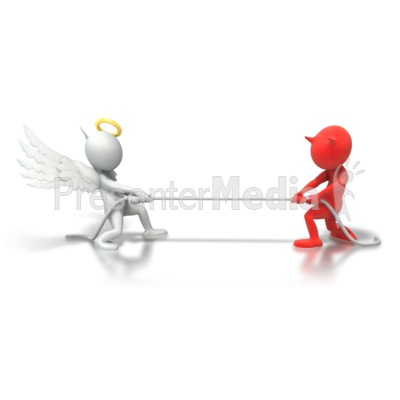 Angel Demon Tug Of War Presentation clipart